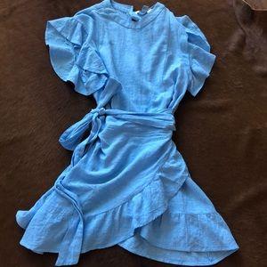 Forever 21 Contemporary Light Blue Wrap Dress